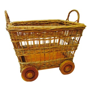 Rattan & Wood Rolling Basket