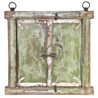 Rustic Salvaged Window Frame With Shutters