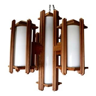 Frank Lloyd Wright Style Wooden Chandelier