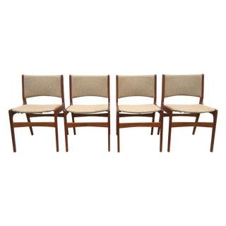 Tan Danish Teak Dining Chairs- Set of 4
