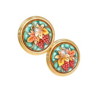 Hermes Clip-On Green & Gold Earrings
