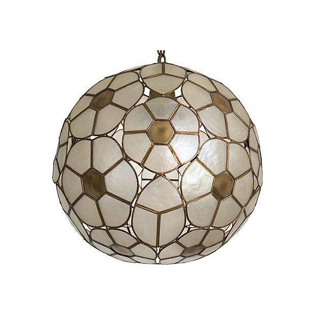 1950s capiz globe pendant chairish. Black Bedroom Furniture Sets. Home Design Ideas