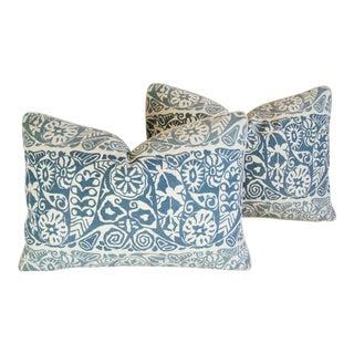 Designer Blue/White Lee Jofa Marisol Linen Pillows - A Pair