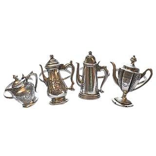 Tea Pot Silver Pewter Napkin Rings - Set of 4