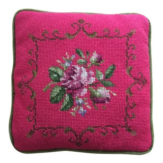 Vintage Bright Pink Floral Needlepoint Pillow