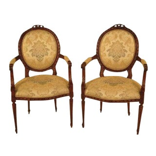 Vintage French Louis XV Armchairs - A Pair