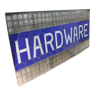 "9 Ft Long 1900's Stained Glass "" Hardware "" Sign"