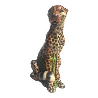 "Mid Century Modern Cheetah 18"" Art Sculpture 1970s Statue"