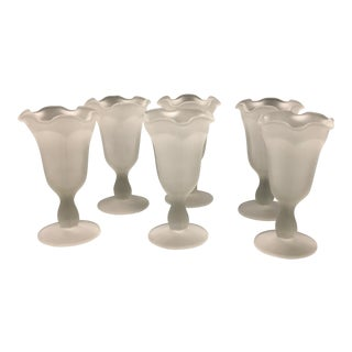 Frosted & Ruffled Sundae Goblets From Indiana Glass Co. - Set of 6
