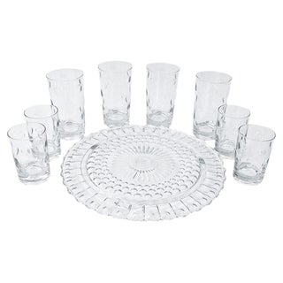 Crystal Cake Plate & Tumblers - Set of 9