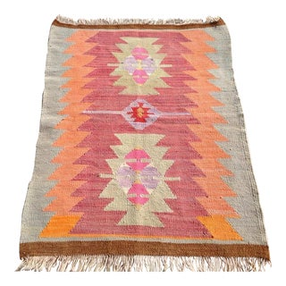 Vintage Turkish Kilim Rug - 2′8″ × 3′6″