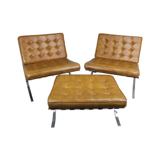 Barcelona Style Lounge Chairs & Ottoman - S/3