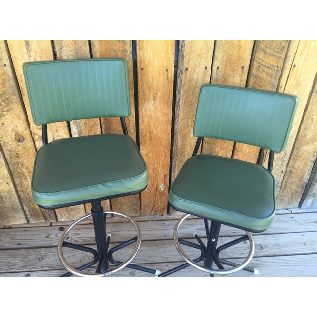 Mid-Century Bar Stools in Jade - A Pair - Image 3 of 11