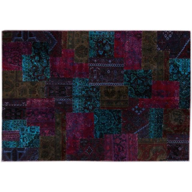 "Image of Apadana Blue Patchwork Overdye Rug - 6'3"" x 8'11"""