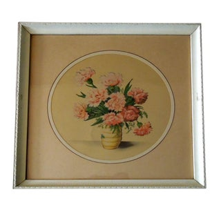 Mid Century Framed Pink Carnation Bouquet