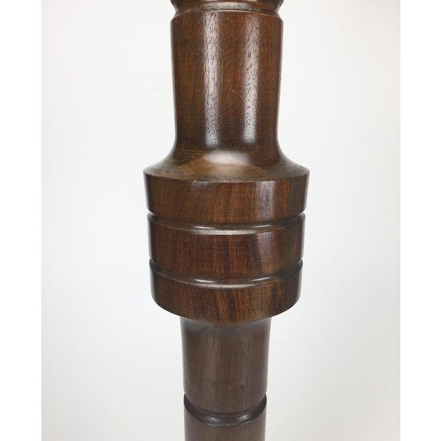 1960s Mid-Century Turned Walnut Floor Candleholder - Image 8 of 10