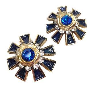 Har Blue Rhinestone & Enamel Earrings