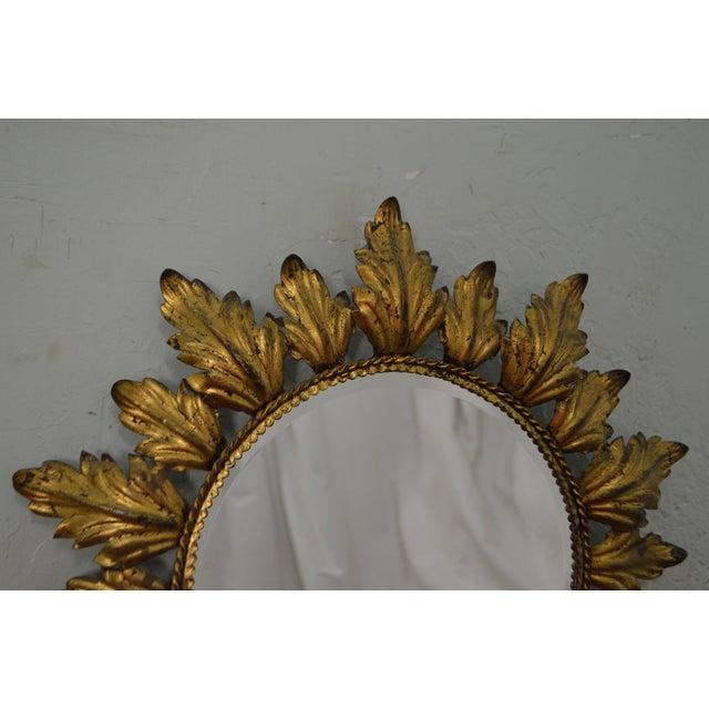 Hollywood Regency Mid century Gold Gilt Metal Starburst Wall Mirror - Image 7 of 11