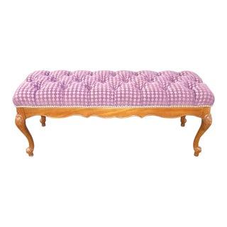 French Purple Velvet Diamond Tufted Bedside Bench