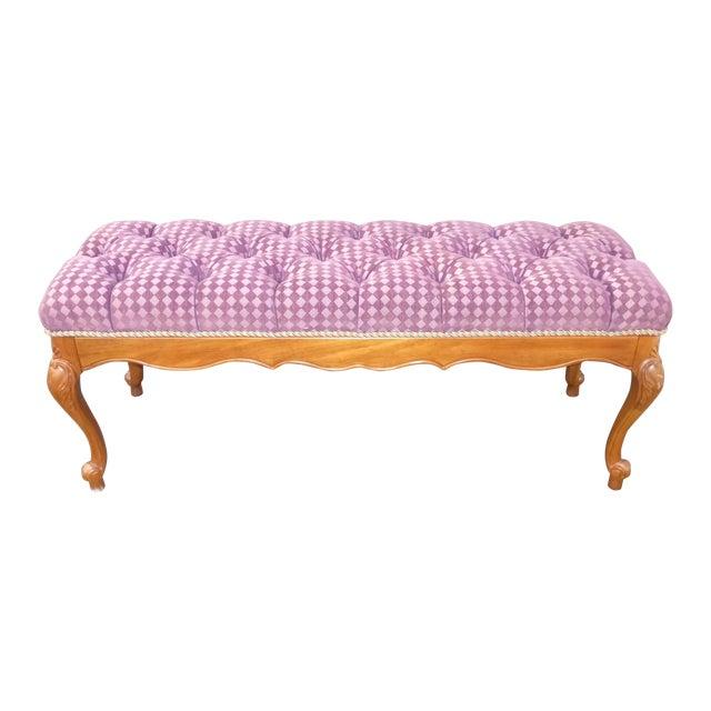 French Purple Velvet Diamond Tufted Bedside Bench - Image 1 of 8