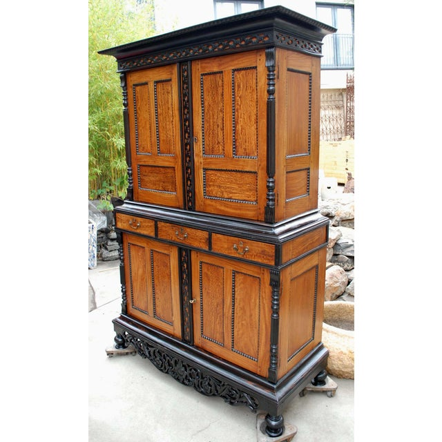 19th c. British Colonial Satin/Ebony 4 Door Cabinet with Carved Moldings - Image 3 of 8
