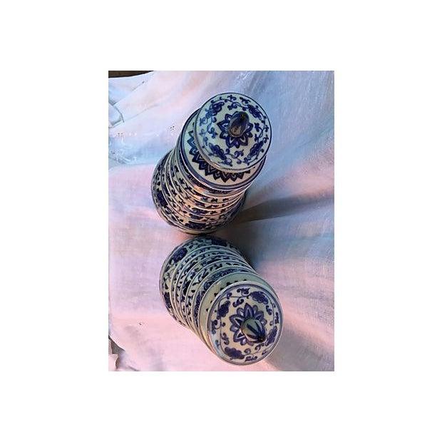 Blue & White Pagoda Ginger Jars - Pair - Image 7 of 7