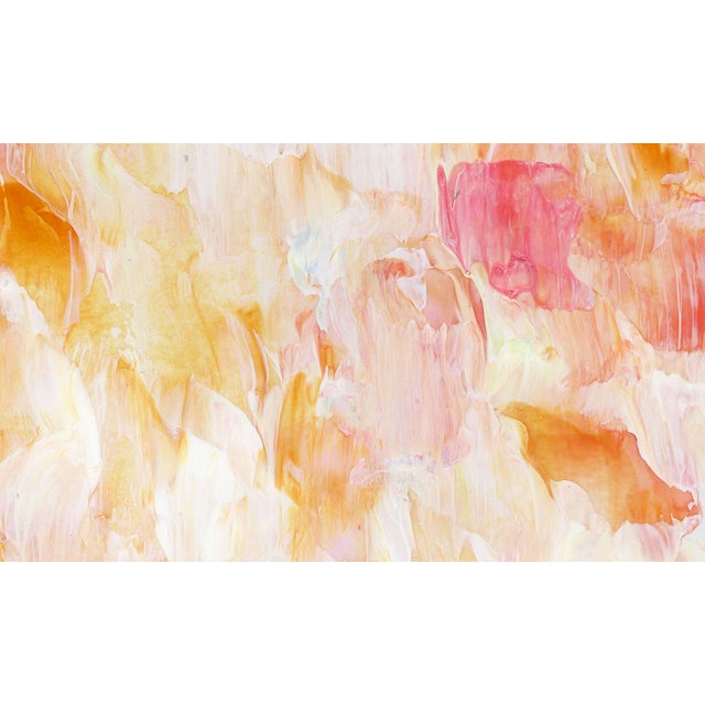 Original Frothee Modern Abstract Peach, Yellow & White Matted Impasto Acrylic Painting - Image 2 of 4