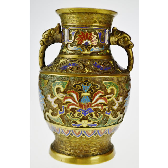 Vintage Japanese Brass Champleve Urn Shaped Vase with Figural Handles - Image 10 of 11