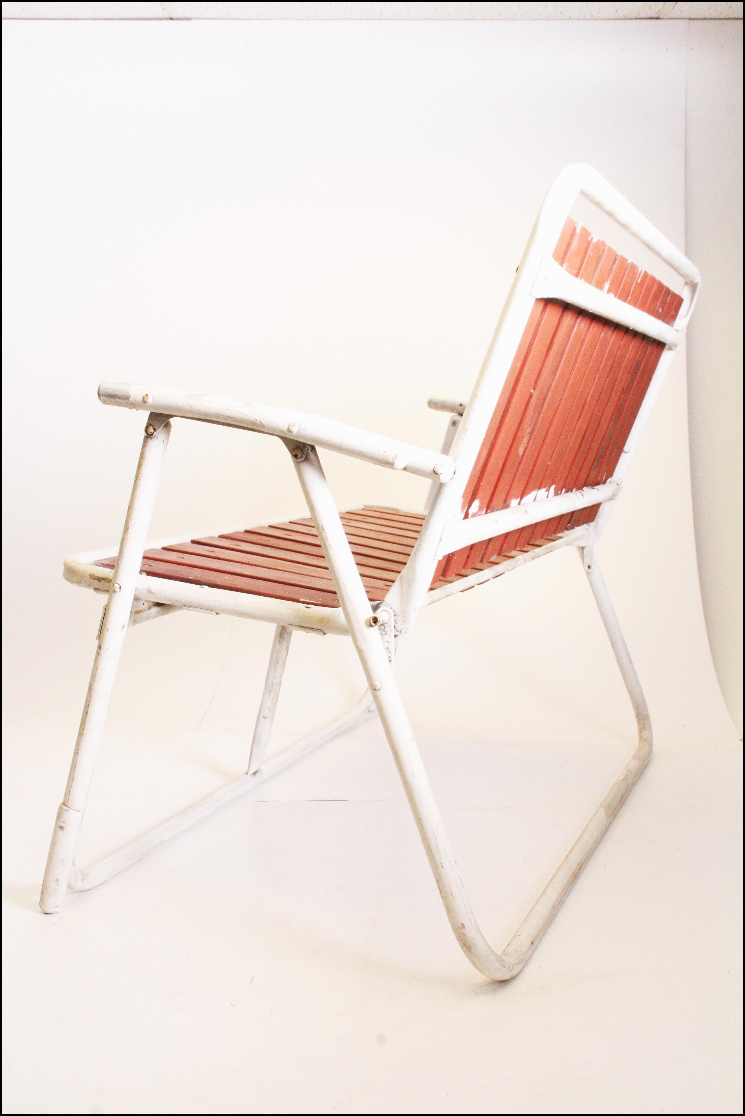 Mid Century Redwood Aluminum Folding Patio Loveseat Chair   Image 3 Of 11