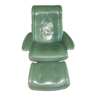 "Ekornes ""Large Royal"" Recliner Chair & Ottoman in Hunter Green Leather"