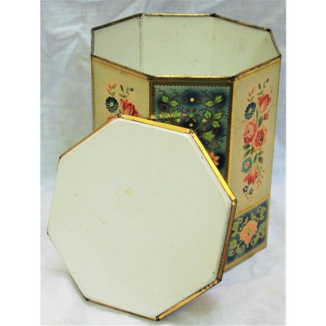 Vintage Octagonal Floral Tin - Image 5 of 7