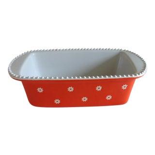 Orange & White Ceramic Baking Pan