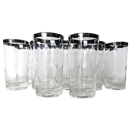 Mid-Century Modern Silver Rim Glassware - 11 - Image 1 of 6