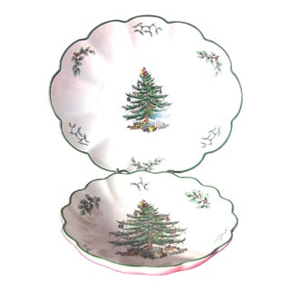 Spode Christmas Tree Scalloped Bowls - Pair