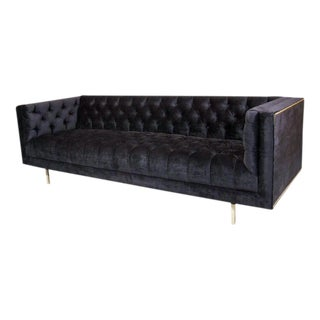 Modernist Tufted Tuxedo Sofa with Brass Accents