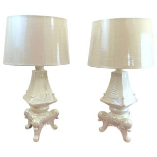 Pearlized Rococo-Style Lamps - A Pair