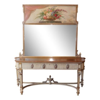 Antique French Painted Sideboard With Trumeau Mirror C1900
