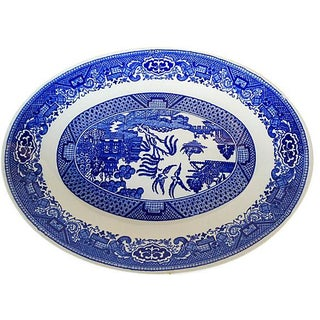Asian Motif Blue & White Platter