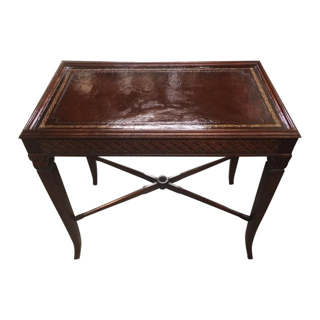 Image of Mahogany Hardwood Leather Embossed Table