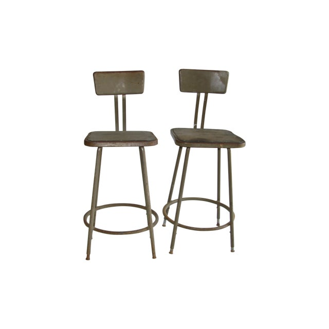 Vintage Industrial Shop Stools - A Pair - Image 1 of 4