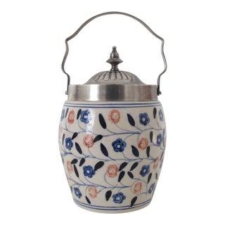 Ceramic & Sterling Biscuit Jar With Florals