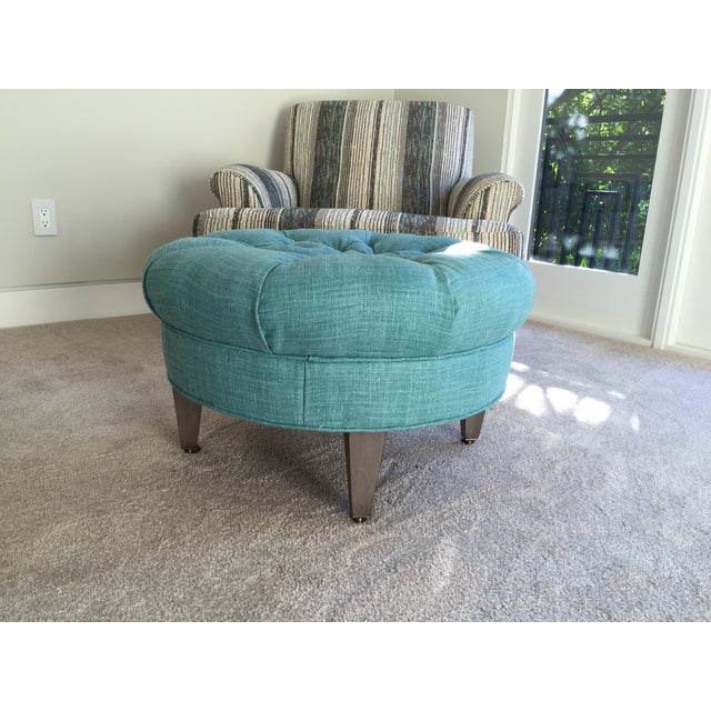 Crate barrel teal blue ottoman chairish for Crate and barrel pouf