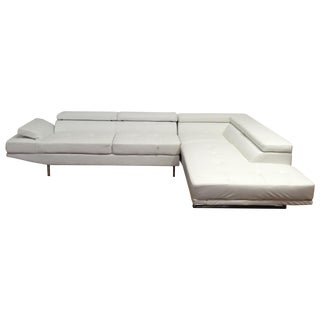 White Leather L-Shape Sectional & Chaise