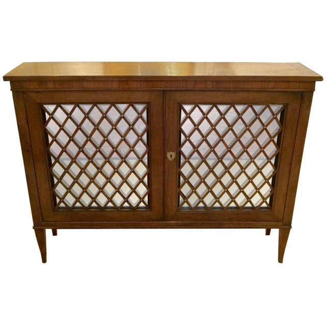 Baker Walnut Mirrored Credenza Console Cabinet - Image 1 of 8
