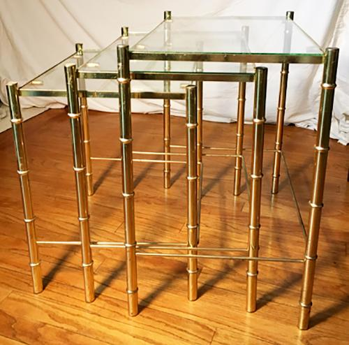 Hollywood Regency Faux Bamboo Brass U0026 Glass Nesting Tables   S/3   Image 3