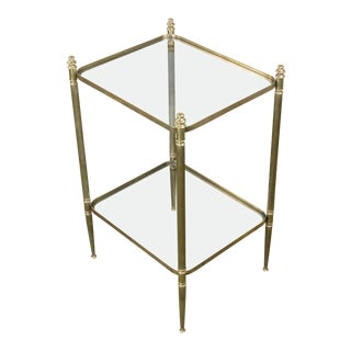 French Two-tier End Table With Clear Glass Shelves