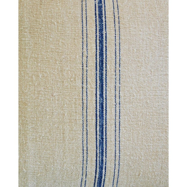 Image of French Blue Stripe Grain Sack Textile Pillow