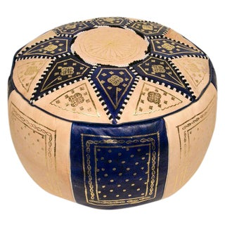 Moroccan Blue Pouf Ottoman