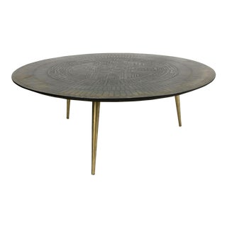 Italian Etched Bronze Cocktail Table