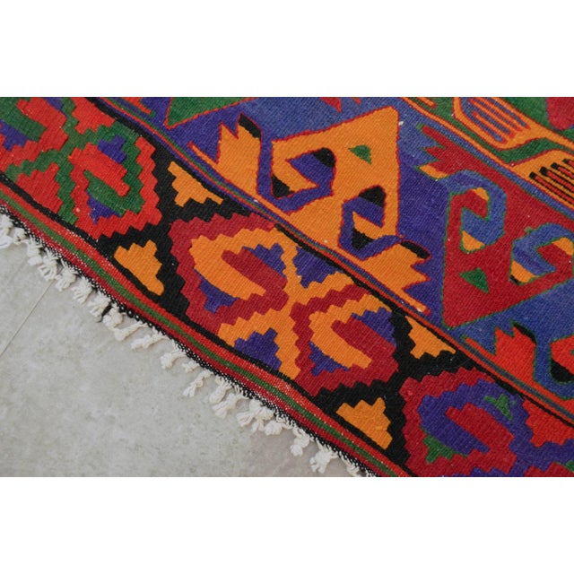 Turkish Kilim Hand Woven Wool Area Rug - 5′8″ X 9′4″ - Image 9 of 9